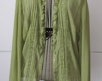 Spring Green Worthington Sheer Blouse Womens sz 10 Green Blouse