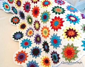 Retro Style for New Crocheted Granny Square Hexagon Afghan Throw