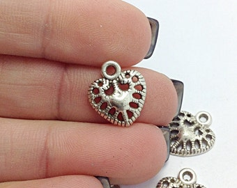 10 Heart Charms, Silver Heart Charms (CH1118)