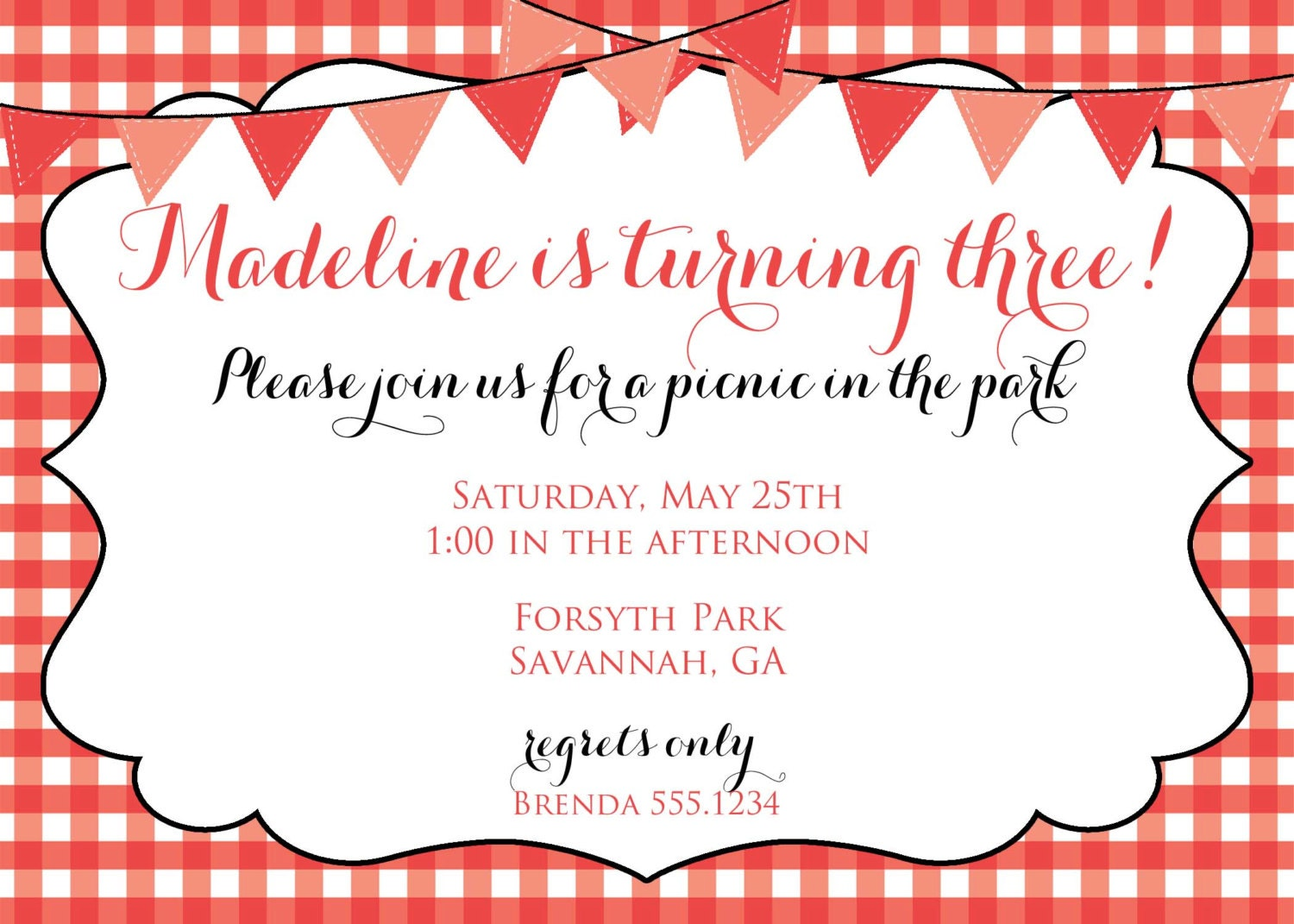 Red Picnic Invitation, Picnic Invitation, Picnic Invite ...