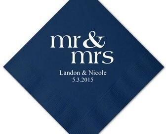 Personalized Napkins Luncheon Personalized Napkins Wedding Napkins Custom Monogram Printed Luncheon Napkins Mr & Mrs