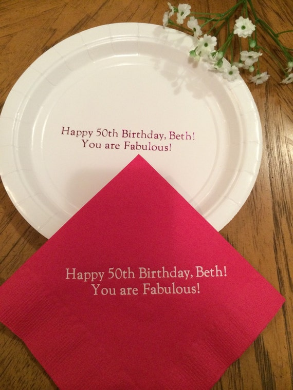 Personalized paper plates and napkins