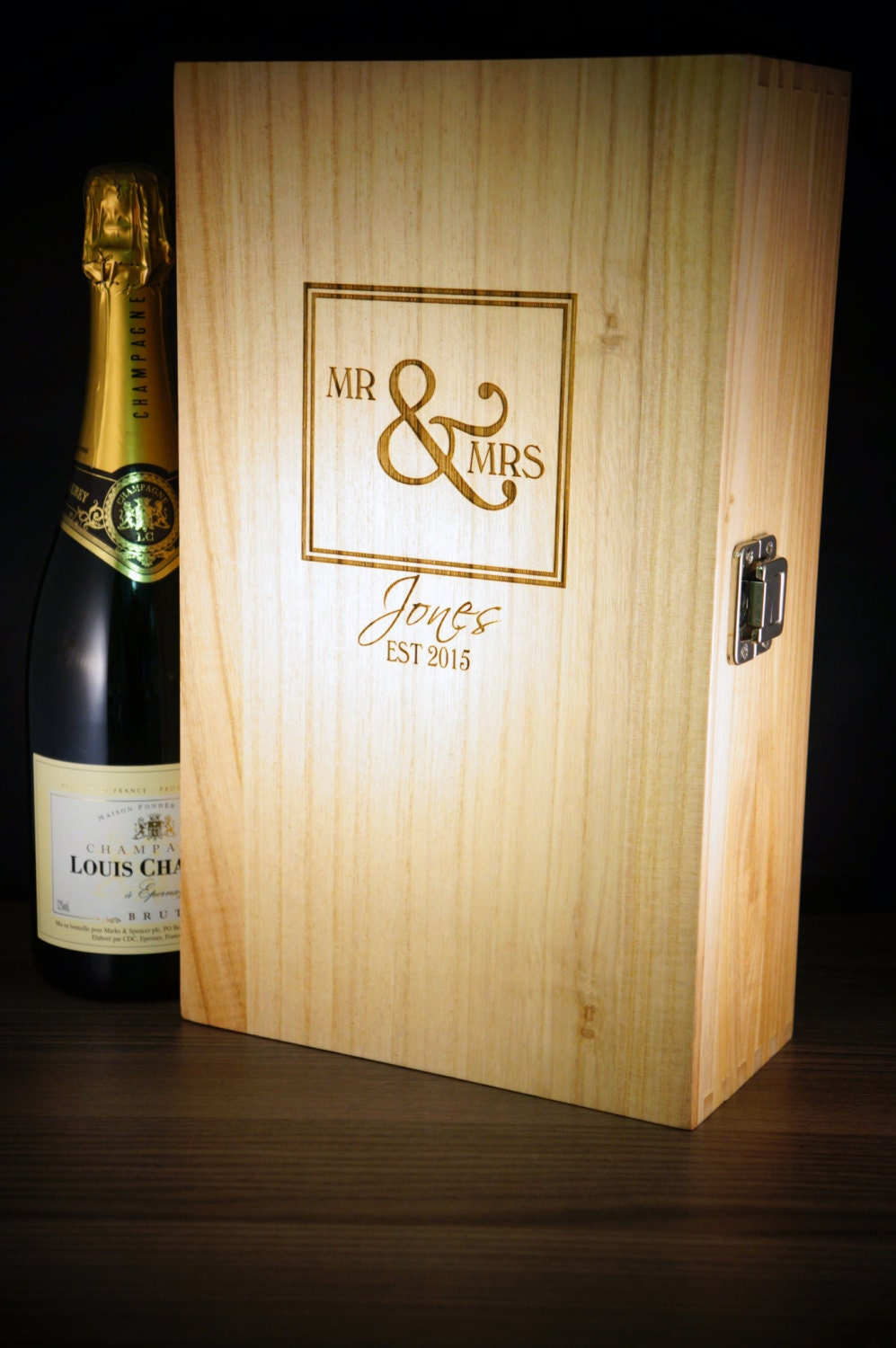 Wedding Gift Personalised Wine Box Mr and Mrs personalised