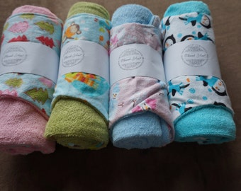 Winter Print Flannel and Terry Cloth Burb Cloth and Changing Pad Covers: Multiple Prints Available