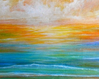 Ocean art, Beach painting, sunset ocean artwork, sunset seascape art, sunrise art,  Original sunset art by Nancy Quiaoit at NancyQart.