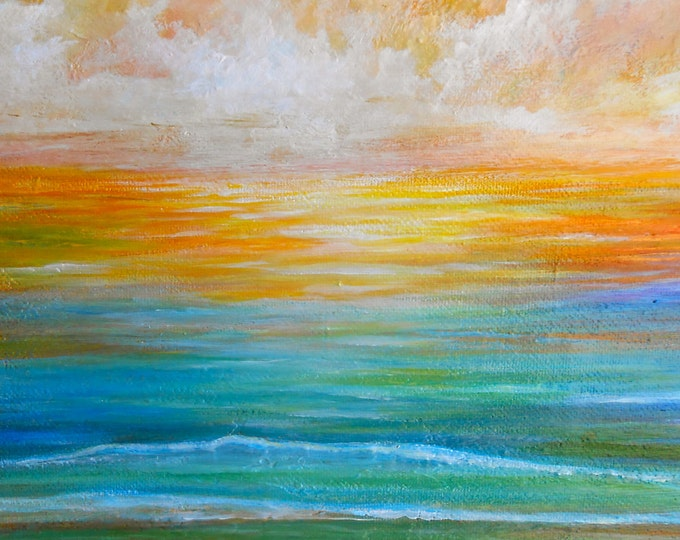 Ocean art, Beach painting, sunset ocean artwork, sunset seascape art, sunrise art,  Original sunset art by Nancy Quiaoit at NancyQart.