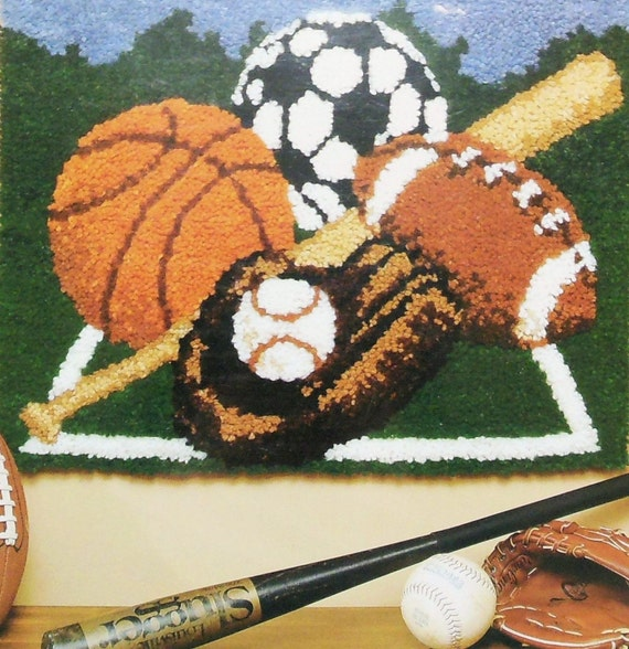 Caron Latch Hook Rug Kit Baseball Football By