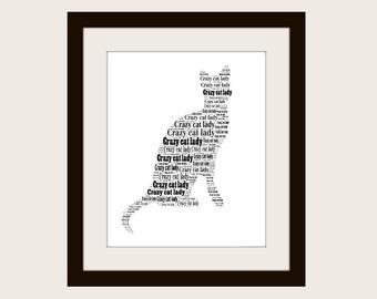 Crazy Cat Lady typographic print.