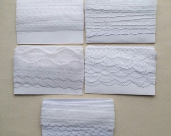 White edging, trimming decorative lace remanents. Many colours available.