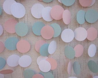 Pink and Blue Paper Circles Garland, Gender Reveal,  Birthday Garland, Wedding Garland, Baby Shower Garland, Photo Prop