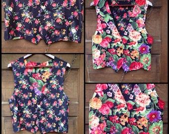 Raddest Vintage Handmade Reversible Floral Print Vest