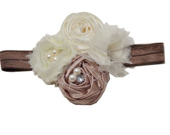 Taupe Silk Rolled Rosette Headband with Sparkling Rhinestone and Pearls. Baby Headband, Photo Prop, Special occasions