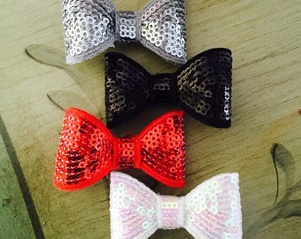 Sequin Baby Bow Clips/Sequin Hair Clips/Green/Yellow/Orange/Red/Black/White/Lavender/Pink/Purple Baby Hair Bows,
