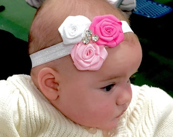 Triple Rosette Flower Headband with Rhinestones, OTHER COLORS AVAILABLE, Baby Girl Headband, Pink, White and Hot Pink Headband. Toddlers
