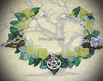 Summer Flowers Goddess and Greenman Bracelet - Yellow - Pagan Jewellery, Wicca