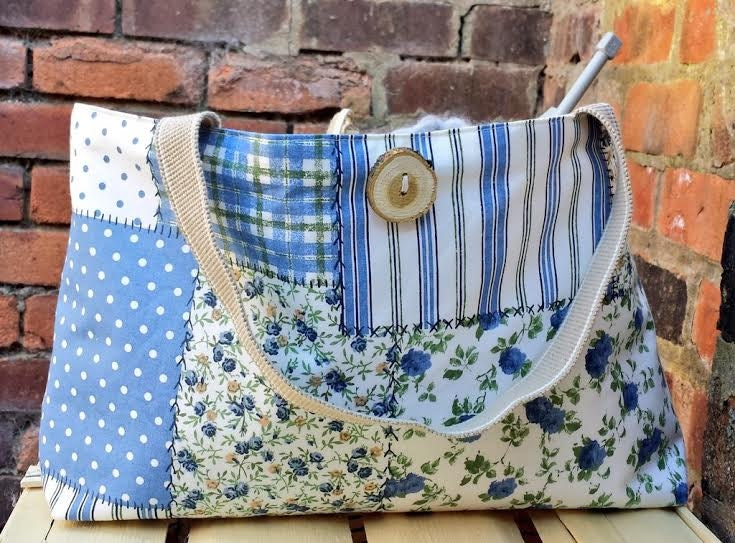 Patchwork Knitting Bag Pattern : EXTRA LARGE Knitting Bag Patchwork Crochet by KnittingBagAndCase
