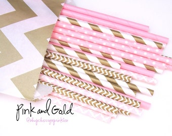 Pink and Gold party decor - Pink Paper Straws - Pink and Gold Baby Shower -Dessert Table Decorations - Wedding Shower - Bridal Shower Decor