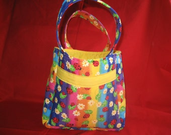 Tote Bag. Tote Purse.  Soo- Pretty !     Pretty Spring and Summer Colors.  Cute Lady Bug Fabric.