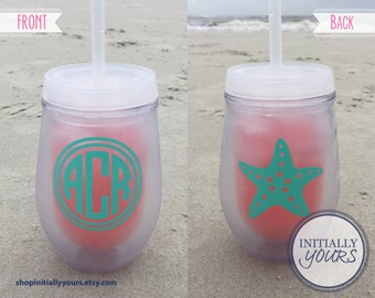 Bev2go Personalized Monogram Stemless Wine Tumbler, Custom Wine Cup, Acrylic Wine Tumbler, Bachelorette Party, Monogrammed Wine Cup