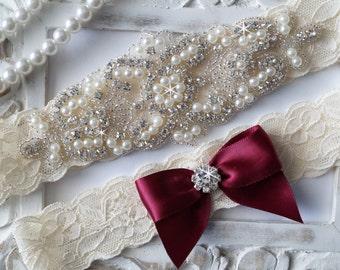 Wedding Garter - Bridal Garter - Pearl and Crystal Rhinestone Garter and Toss Garter Set-Style 200