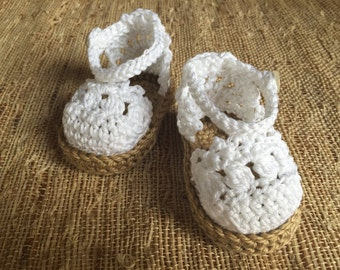 Crocheted white espadrilles sandals, baby shoes, summer baby accessory, white sandals