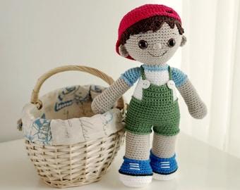 PATTERN - Tobias the Amigurumi Boy Doll (crochet, amigurumi) - in English