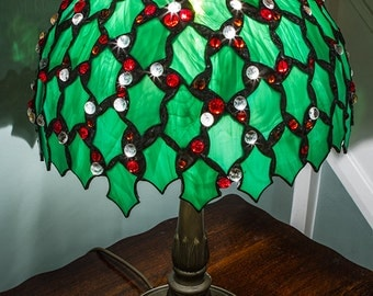 Lampshade stained glass holly design