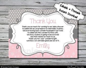 Winter Wonderland Thank You Card Baby Shower- Editable Printable Digital File with Instant Download