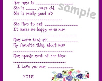 About my Mom Mother's Day Pansy Printable DIY Card Instant Download 2015