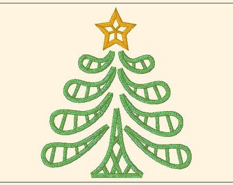 Cut-work lace Christmas tree embroidery design