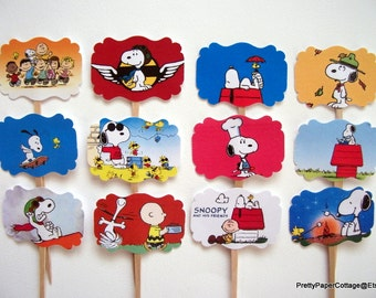 Snoopy Cupcake Toppers, Birthday Party, Baby Shower, Set of 12, Cupcake Picks