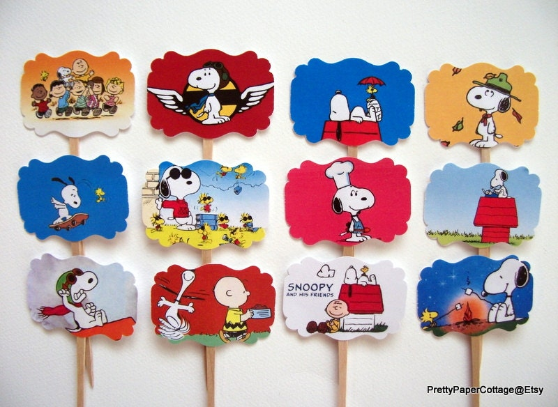 Snoopy Cupcake Toppers Birthday Party Baby Shower Set of