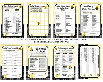 Bumble Bee Baby Shower Game, Printable Bee Game, Bee Shower Game, Bumble Bee Game, Bumble Bee Baby Game, Honey Bee Game -Printables 4 Less