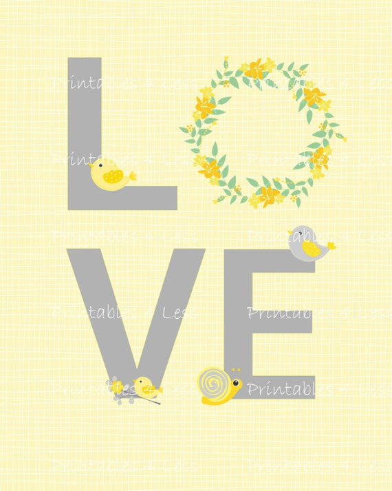 DIY Yellow And Gray Love Wall Art Diy Nursery Printable Diy