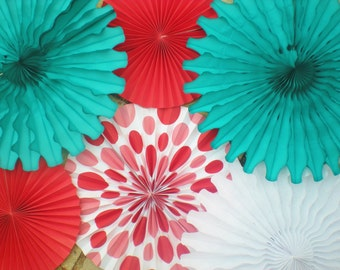 XL Red teal paper fans and tissue fans for photo backdrop or table backdrop