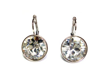 Regular Round Bella Rhodium-Plated Crystal Earrings made with Genuine SWAROVSKI Crystals