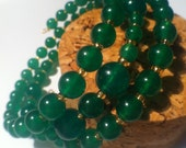 Emerald jade beads (4mm, 6mm,8mm) on gold plated memory wire bracelet with Czech seed beads