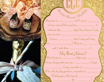 5 - Bridal Shower Madlibs Blush Gold Pink Glitter wedding advice Mad Libs wedding baby shower adlibs monogram madlibs