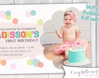 Confetti first Birthday Party -  Digital Printable Invitation
