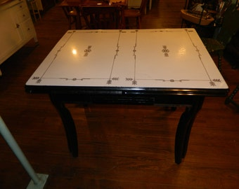 SOLD!  Well Worn Black and White Enamel Table with Expansion Leaf on Painted Maple Base