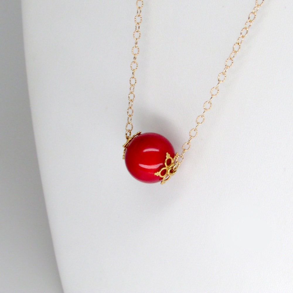 Gold red coral necklace authentic red coral pendant necklace red gold red coral necklace authentic red coral pendant necklace red coral necklace 24k gold vermeil bead caps authentic coral orb necklace aloadofball Images