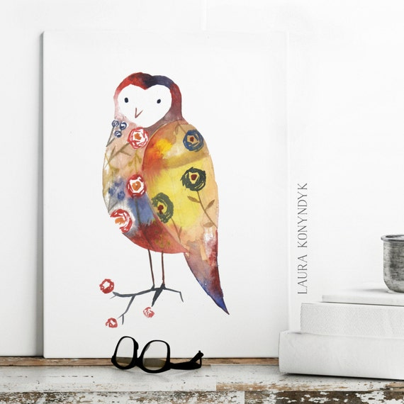 Colourful Owl - Print of Watercolour Illustration