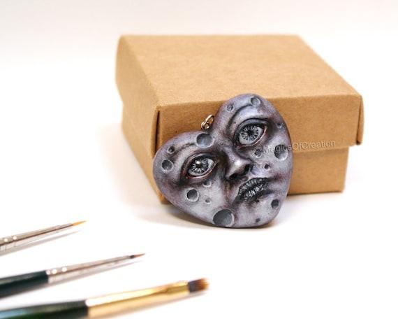Love Is Moon, OOAK heart sculpture pendant, original art jewelry