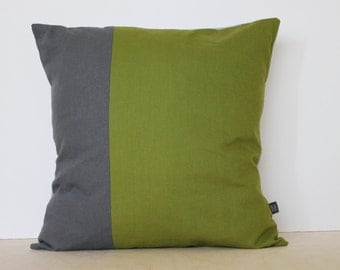 Colorblock Pillow Cover in Moss Green and two tones of Gray | Decorative pillows by AylaGrayDesigns - Modern Home Decor