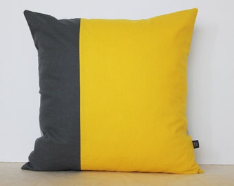 Throw Pillow | Colorblock Pillow Cover in Sunshine Yellow and two tones of Gray | Decorative pillows by AylaGrayDesigns