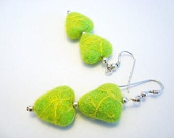 Lime Green Earrings Felt Earrings Green Heart Earrings Everyday Wool Felt Jewelry