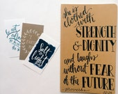 Proverbs 31 prayer journal, Hand lettered on Moleskine notebook, Christmas scripture gift for her, she is clothed with strength and dignity