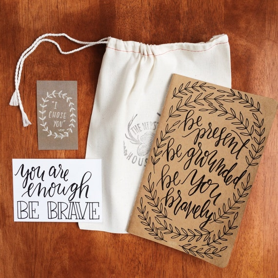 Yoga journal 'positivity pack', mindfulness, meditation journal, yogi gift, yoga teacher gift, hand lettered mantra card included
