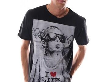 I Love Life Street Art Mens Tshirt %100 Cotton Crew Neck Fitted Soft Screen Print Short Sleeve Mens Tee