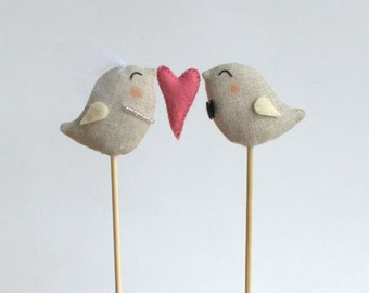 Full of Love Birds Wedding Cake Topper -  Bride and Groom with Pink Heart